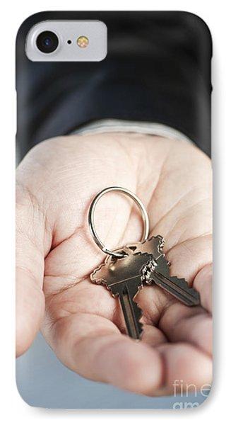 Hand Offering New Keys Phone Case by Elena Elisseeva