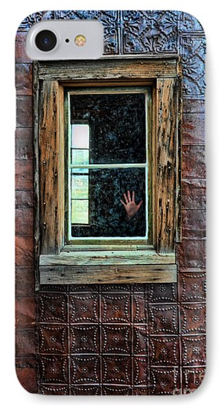 Hand On Old Window Phone Case by Jill Battaglia