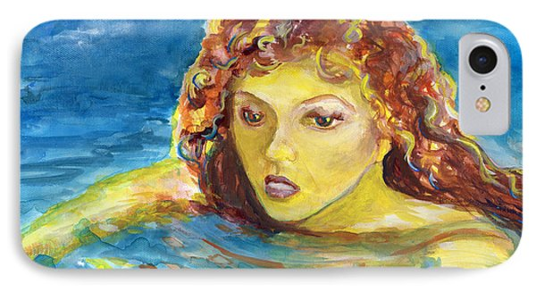 Hand Painted Art Adult Female Swimmer Phone Case by Lenora  De Lude