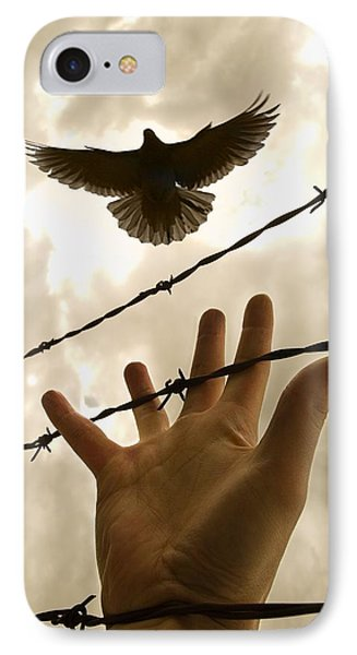 Hand Reaching Out For Bird Phone Case by Nathan Lau