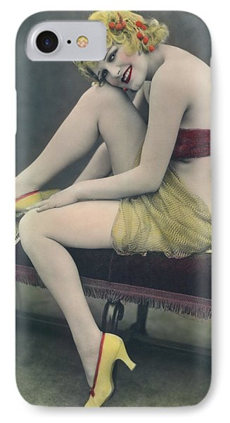 Hand Tinted Photo Of A Woman IPhone Case by Underwood Archives