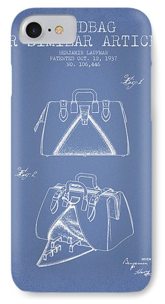 Handbag Or Similar Article Patent From 1937 - Light Blue IPhone Case by Aged Pixel