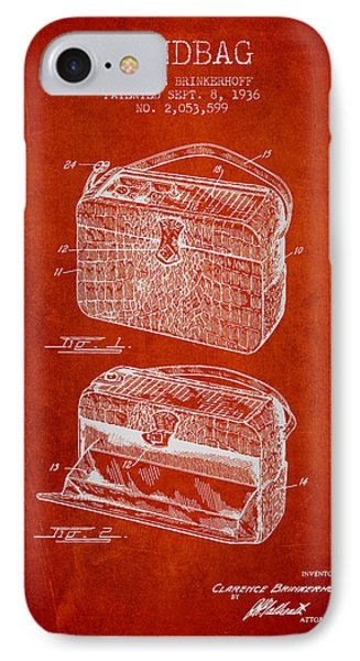 Handbag Patent From 1936 - Red IPhone Case by Aged Pixel