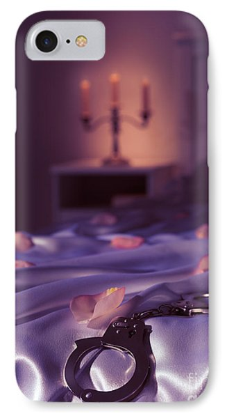 Handcuffs And Rose Petals On Bed IPhone Case