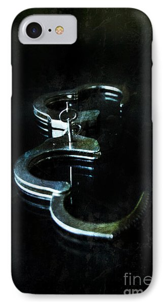 Handcuffs On Black IPhone Case by Jill Battaglia