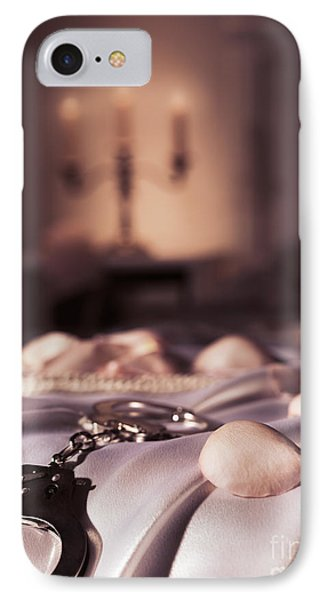 Handcuffs Ropes And Rose Petals On Bed Bdsm Sex Romantic Concept IPhone Case
