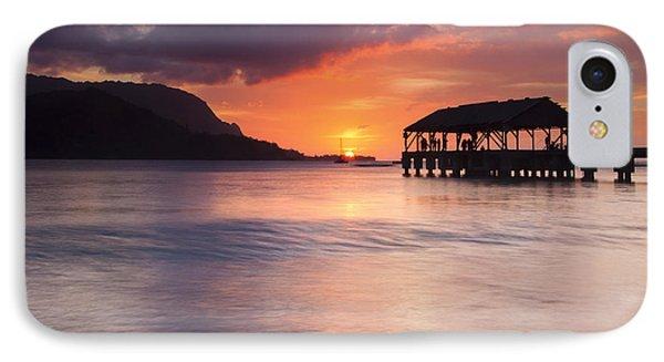 Hanelei Pier Sunset IPhone Case by Mike Dawson