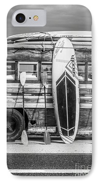 Hang Ten - Vintage Woodie Surf Bus - Florida - Black And White IPhone Case