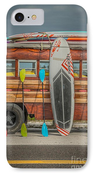 Hang Ten - Vintage Woodie Surf Bus - Florida - Hdr Style IPhone Case