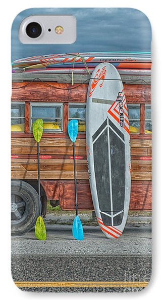 Hang Ten - Vintage Woodie Surf Bus - Florida IPhone Case