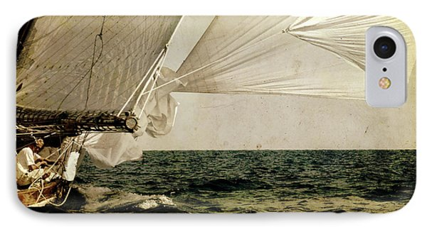 IPhone Case featuring the photograph Hanged On Wind In A Mediterranean Vintage Tall Ship Race  by Pedro Cardona