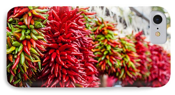 Hanging Chili Pepper Ristras At Farmers Market Phone Case by Teri Virbickis