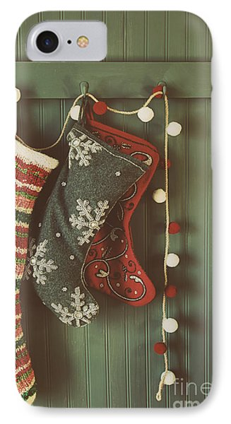 Hanging Stockings Ready For Christmas IPhone Case by Sandra Cunningham