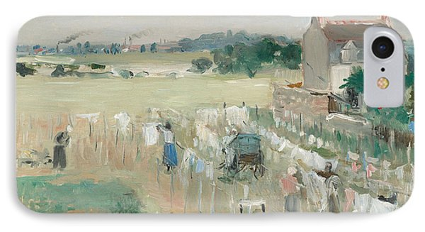 Hanging The Laundry Out To Dry IPhone Case by Berthe Morisot
