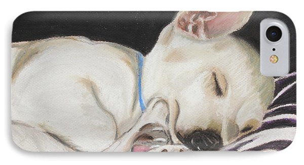 IPhone Case featuring the painting Hanks Sleeping by Jeanne Fischer
