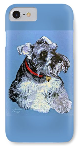 Hans The Schnauzer Original Painting Forsale IPhone Case by Bob and Nadine Johnston