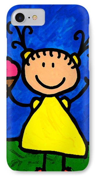 Happi Arte 3 - Little Girl Ice Cream Cone Art IPhone Case by Sharon Cummings