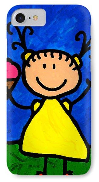 Ice iPhone 7 Case - Happi Arte 3 - Little Girl Ice Cream Cone Art by Sharon Cummings
