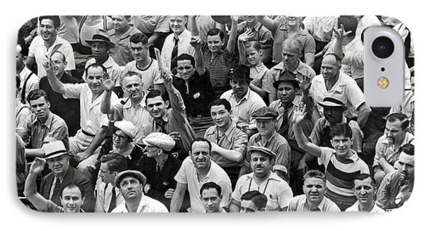Yankee Stadium iPhone 7 Case - Happy Baseball Fans In The Bleachers At Yankee Stadium. by Underwood Archives