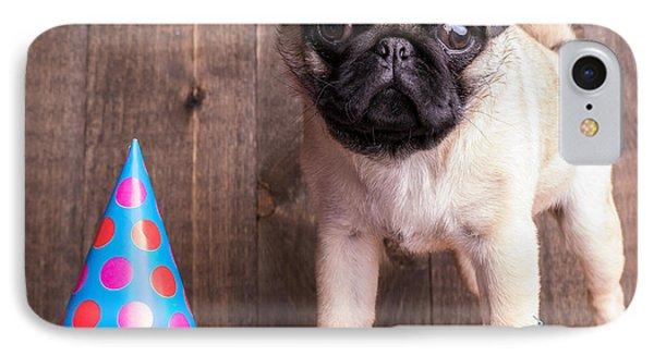 Happy Birthday Cute Pug Puppy IPhone Case by Edward Fielding