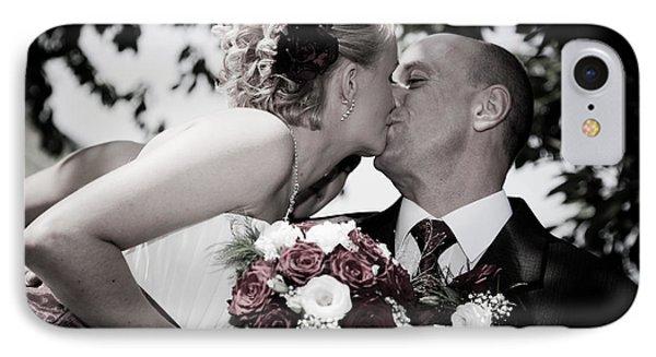 Happy Bride And Groom Kissing Phone Case by Michal Bednarek