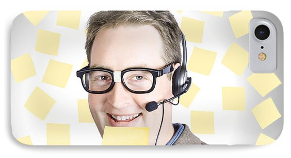 Happy Business Man Wearing Helpdesk Headset IPhone Case by Jorgo Photography - Wall Art Gallery