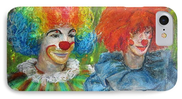 IPhone Case featuring the painting Gemini Clowns by Jieming Wang
