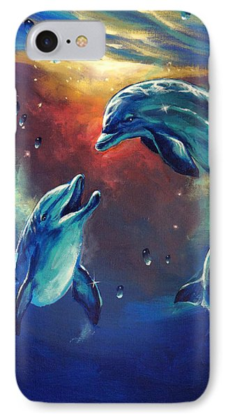 Happy Dolphins Phone Case by Marco Antonio Aguilar