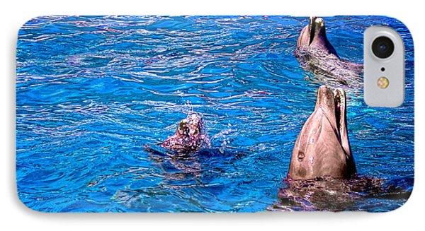Happy Dolphins Phone Case by Sandra Pena de Ortiz