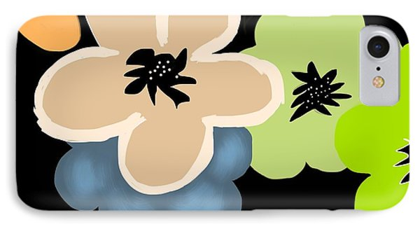 IPhone Case featuring the digital art Happy Flowers Blue by Christine Fournier