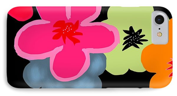 IPhone Case featuring the digital art Happy Flowers Pink by Christine Fournier