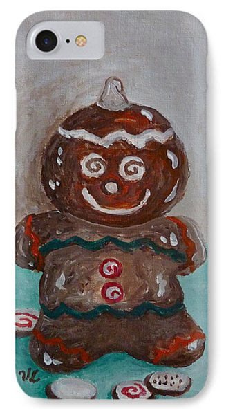 Happy Gingerbread Man IPhone Case by Victoria Lakes