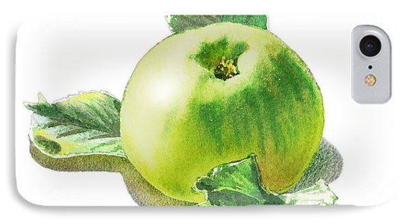 IPhone 7 Case featuring the painting Happy Green Apple by Irina Sztukowski