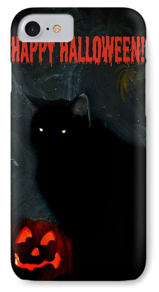 Happy Halloween Black Cat Phone Case by Michelle Frizzell-Thompson