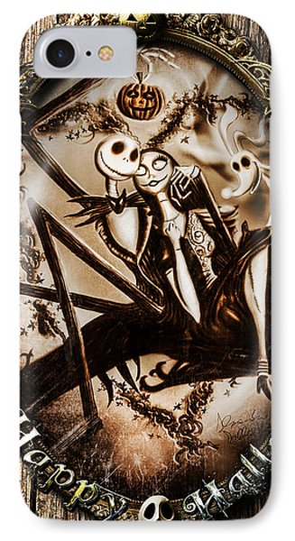 Happy Halloween IIi Sepia Version IPhone Case by Alessandro Della Pietra