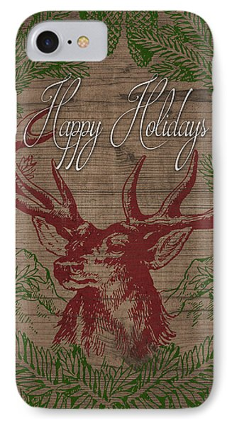 Happy Holidays Deer IPhone Case by South Social Studio