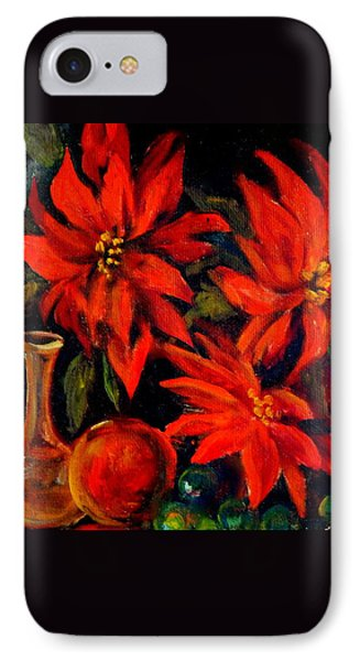 New Orleans Red Poinsettia Oil Painting IPhone Case by Michael Hoard