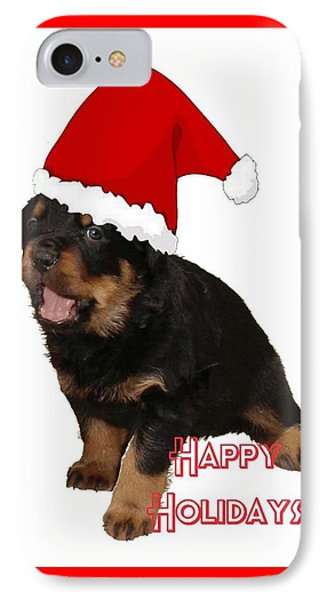Happy Holidays Rottweiler Christmas Greetings  Phone Case by Tracey Harrington-Simpson