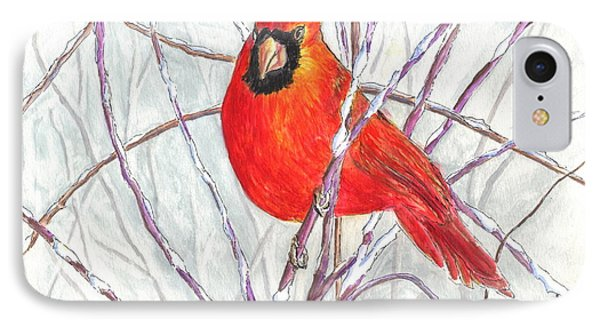 Happy Holidays Snow Cardinal IPhone Case by Carol Wisniewski