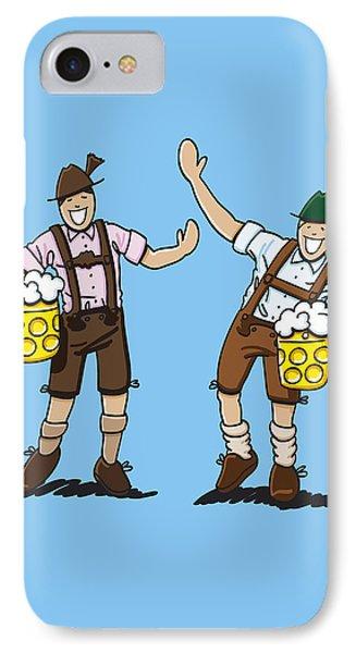 Happy Lederhosen Men With Beer Stein IPhone Case by Frank Ramspott
