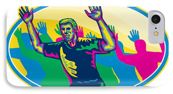 Happy Marathon Runner Running Oval Retro Phone Case by Aloysius Patrimonio
