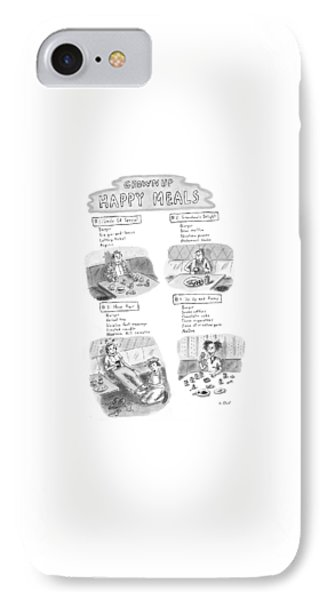 'happy Meals For Grown Ups' IPhone Case by Roz Chast