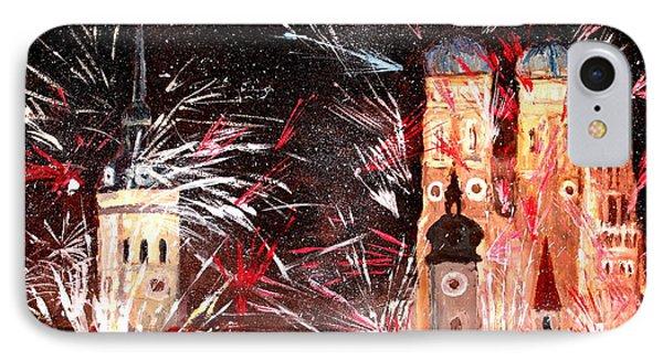 Happy New Year - With Fireworks In Munich Phone Case by M Bleichner