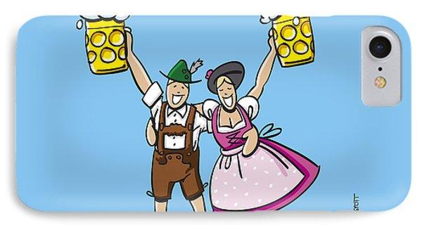 Happy Oktoberfest Couple Beer IPhone Case by Frank Ramspott