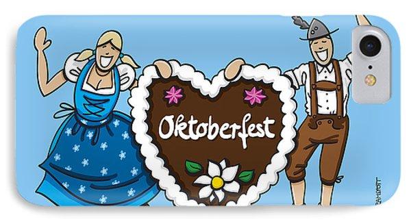 Happy Oktoberfest Couple With Gingerbread Heart IPhone Case by Frank Ramspott