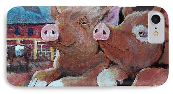 Happy Pigs Phone Case by Dona Davis