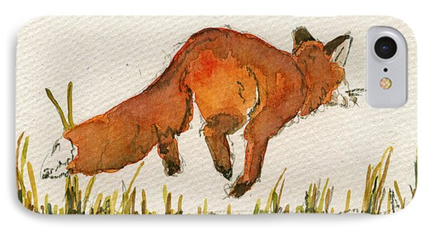 Happy Red Fox IPhone Case by Juan  Bosco