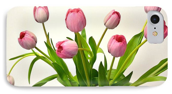 IPhone Case featuring the digital art Happy Spring Pink Tulips 2 by Jeannie Rhode