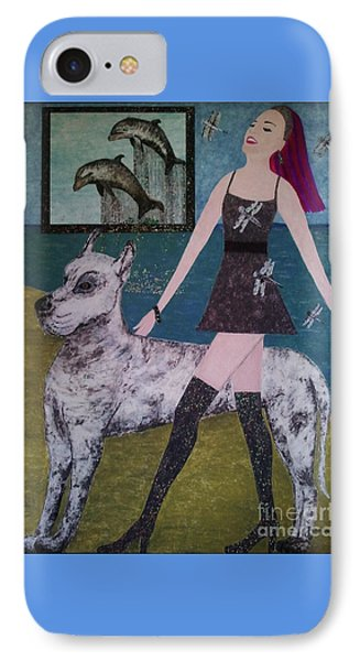 IPhone Case featuring the painting Happy Walk By Jasna Gopic by Jasna Gopic