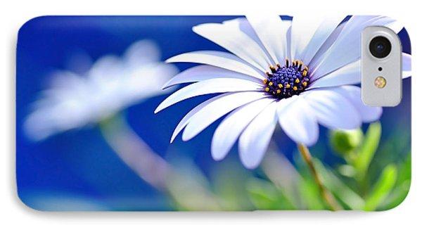Happy White Daisy 2- Blue Bokeh  Phone Case by Kaye Menner